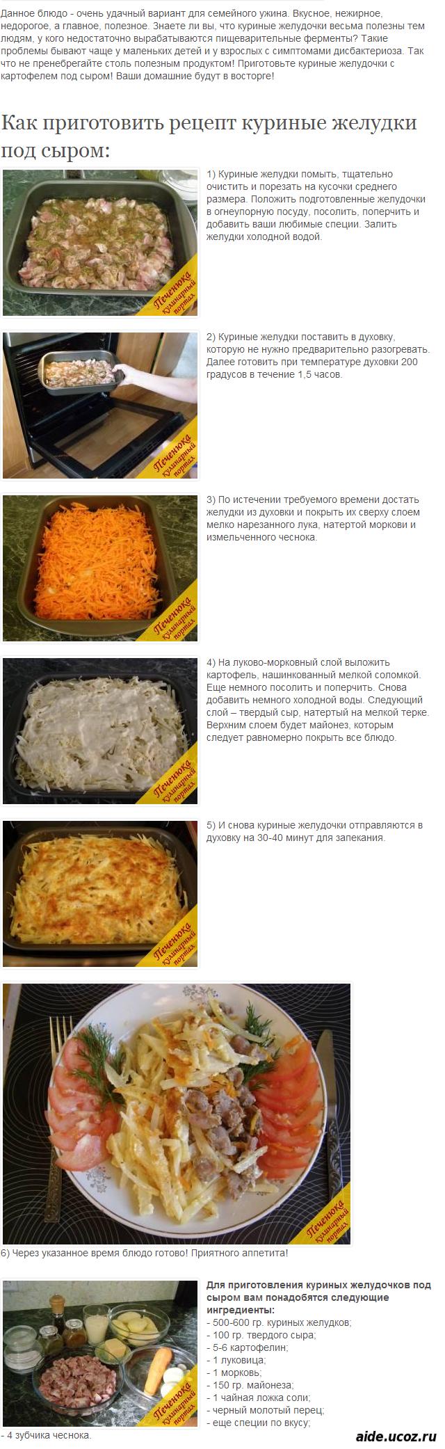 Желудки куриные пошаговый рецепт